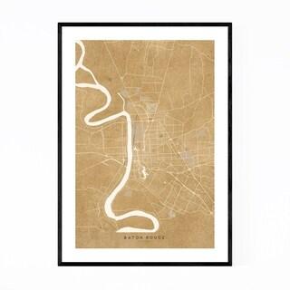 Noir Gallery Baton Rouge Sepia City Map Framed Art Print