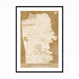 Noir Gallery Minimal San Francisco City Map Framed Art Print