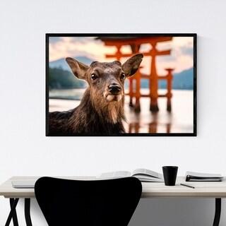 Noir Gallery Deer Animal Wildlife Japan Framed Art Print