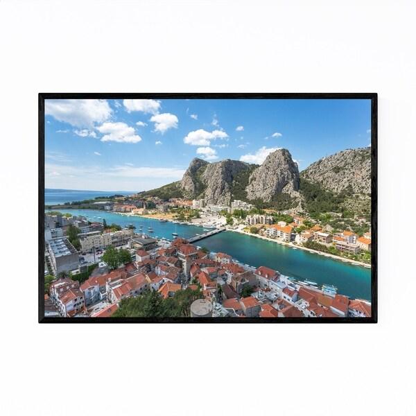 Noir Gallery Omis Croatia Mountains View Framed Art Print
