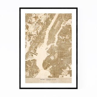 Noir Gallery Minimal Sepia New York City Map Framed Art Print