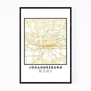 Noir Gallery Minimal Johannesburg City Map Framed Art Print