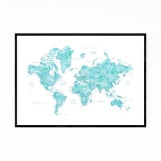 Noir Gallery Blue Green Watercolor World Map Framed Art Print