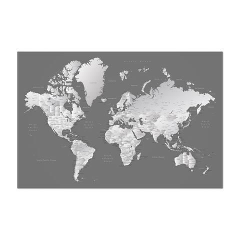 Noir Gallery Gray World Map with Cities Unframed Art Print/Poster