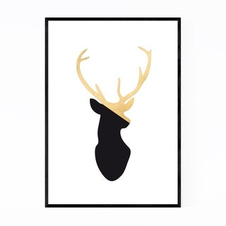 Noir Gallery Minimal Gold Deer Buck Animal  Framed Art Print