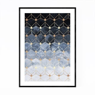 Noir Gallery Blue Abstract Geometric Art Deco Framed Art Print