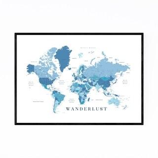 Noir Gallery Blue Wanderlust World Map Framed Art Print