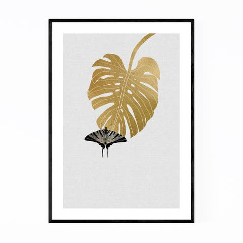 Noir Gallery Butterfly & Monstera Botanical Framed Art Print