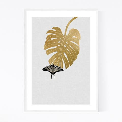 Noir Gallery Butterfly & Monstera Botanical Framed Art Print