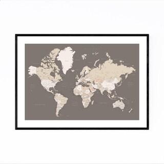 Noir Gallery Brown World Map with Cities Framed Art Print