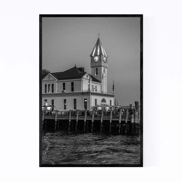 Noir Gallery Black & White New York Pier A Framed Art Print