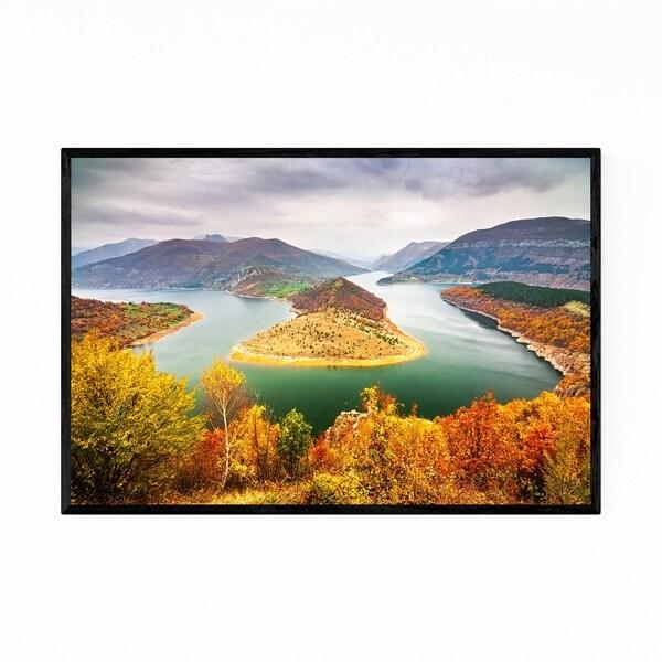 Noir Gallery Bulgaria Autumn Lake Landscape Framed Art Print