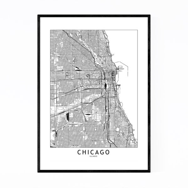 Noir Gallery Chicago Black & White City Map Framed Art Print