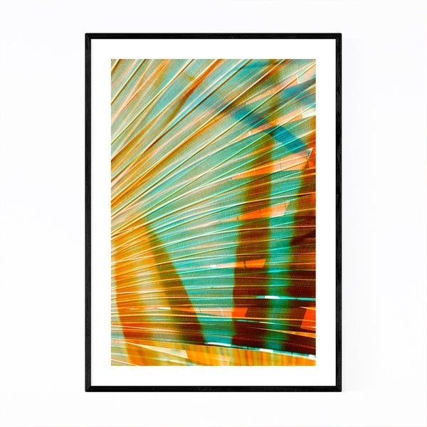 Noir Gallery Abstract Orange & Green Palms Framed Art Print