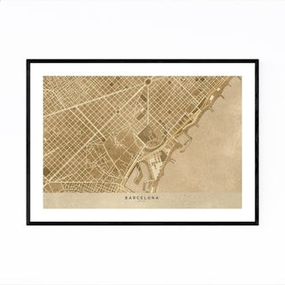 Noir Gallery Barcelona Spain Sepia City Map Framed Art Print