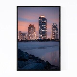 Noir Gallery Miami Beach Florida Skyline Framed Art Print