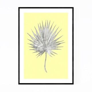 Noir Gallery Minimal White Marble Palm Leaf Framed Art Print