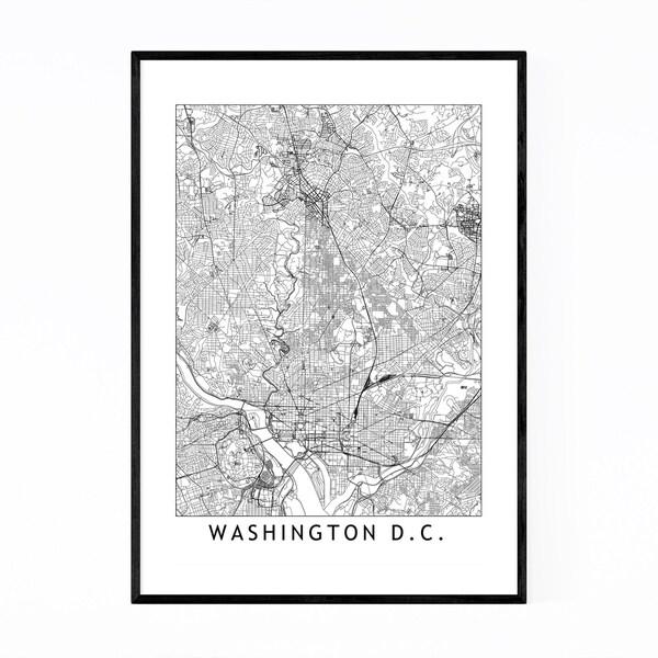 Noir Gallery Washington DC Black & White Map Framed Art Print