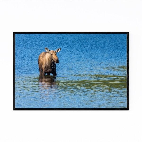 Noir Gallery Moose Denali Alaska Wildlife Framed Art Print
