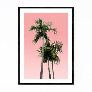 Noir Gallery Minimal Palm Trees Pink Framed Art Print