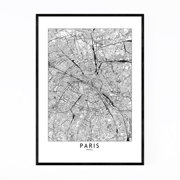 Noir Gallery Paris Black & White City Map Framed Art Print