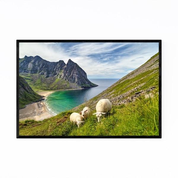 Noir Gallery Lofoten Norway Sheep Mountains Framed Art Print