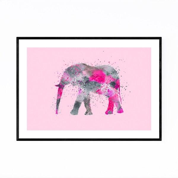 Noir Gallery Watercolor Splatter Elephant Framed Art Print