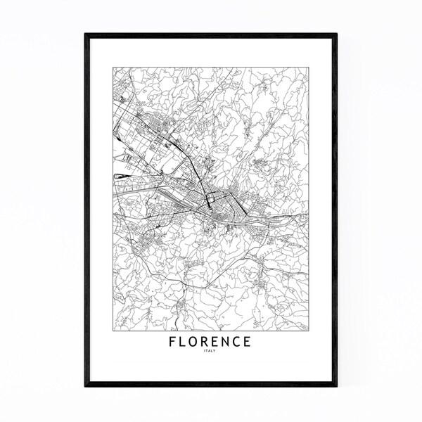Noir Gallery Florence Black & White City Map Framed Art Print