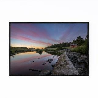 Noir Gallery Finland Sunset Landscape River Framed Art Print