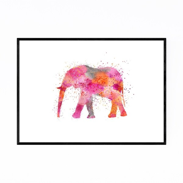 Noir Gallery Watercolor Splatter Elephant Framed Art Print