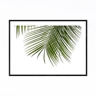 Noir Gallery Minimal Palm Leaf White & Green Framed Art Print