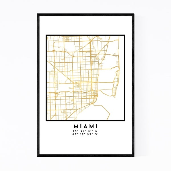 Noir Gallery Minimal Miami City Map Framed Art Print