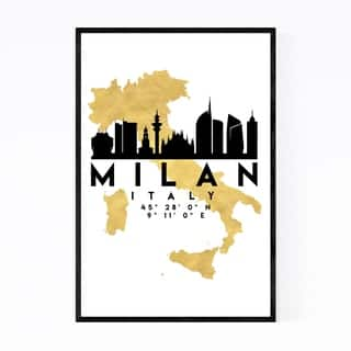 Noir Gallery Minimal Milan Skyline Framed Art Print