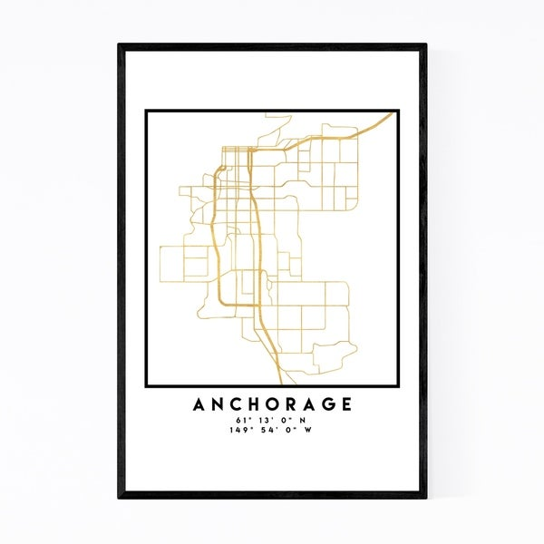 Noir Gallery Minimal Anchorage City Map Framed Art Print