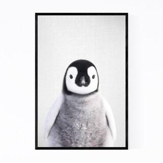 Noir Gallery Baby Penguin Peekaboo Animal Framed Art Print