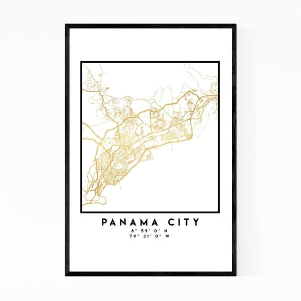 Noir Gallery Minimal Panama City City Map Framed Art Print