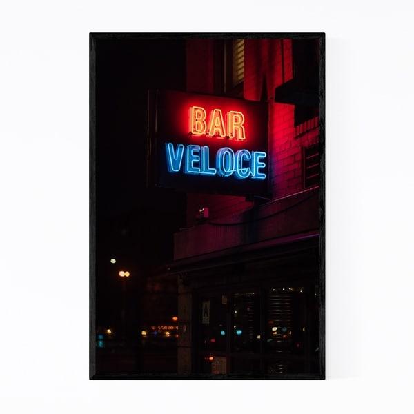 Noir Gallery Bar Veloce Neon Sign New York Framed Art Print