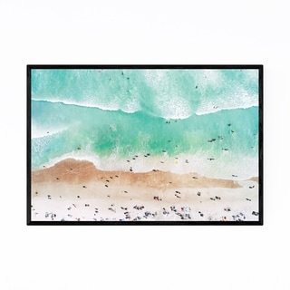 Noir Gallery Aerial Beach Waves Photography Framed Art Print