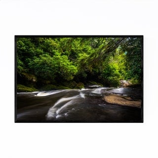 Noir Gallery North Carolina Forest Waterfall Framed Art Print