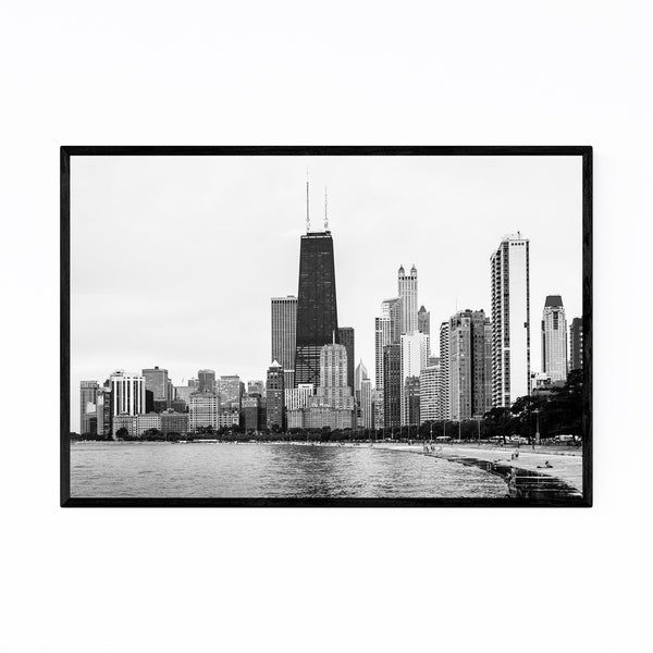 Noir Gallery Chicago Skyline Lake View Urban Framed Art Print