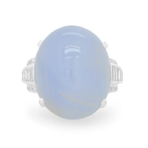 Platinum 65ct Star Sapphire Deco Cocktail Ring (H - I,VS1 - VS2) Size - 6.25