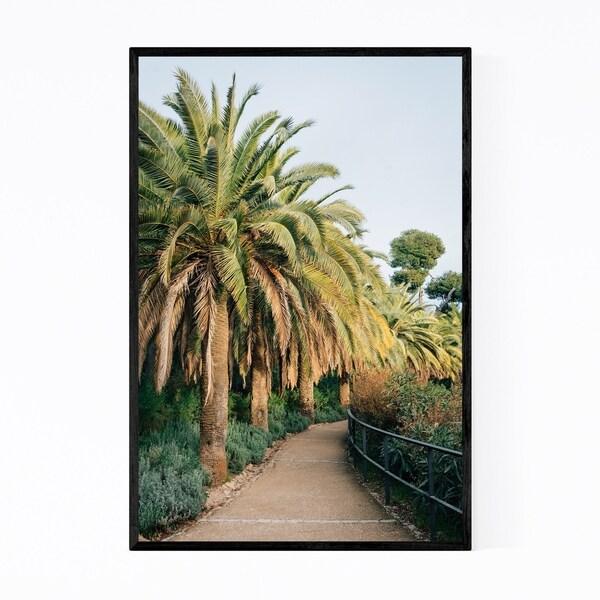 Noir Gallery Palm Trees Barcelona Spain Framed Art Print