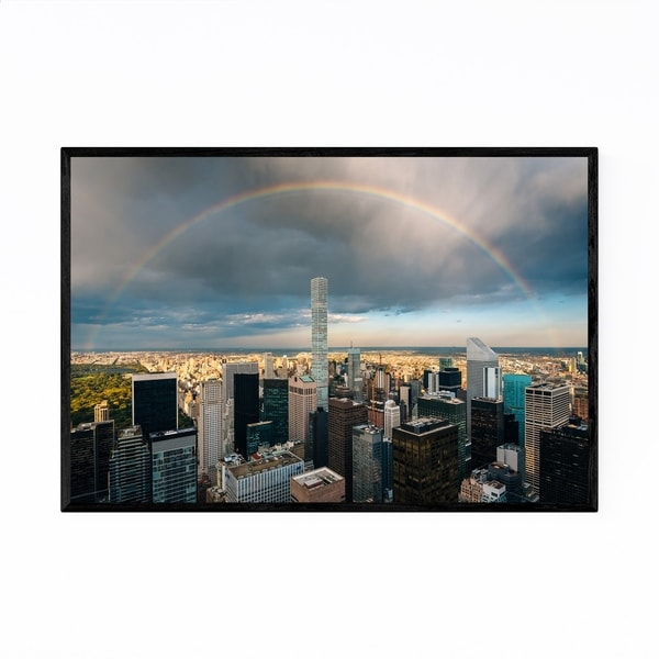 Noir Gallery New York Skyline Rainbow NYC Framed Art Print