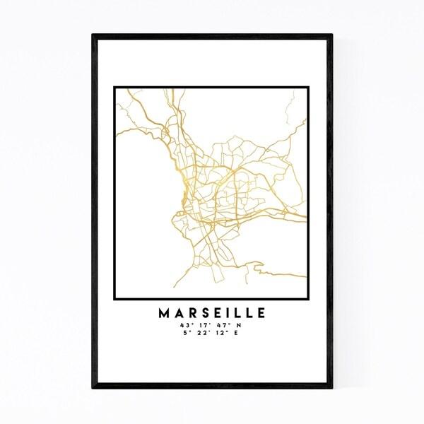 Noir Gallery Minimal Marseille City Map Framed Art Print