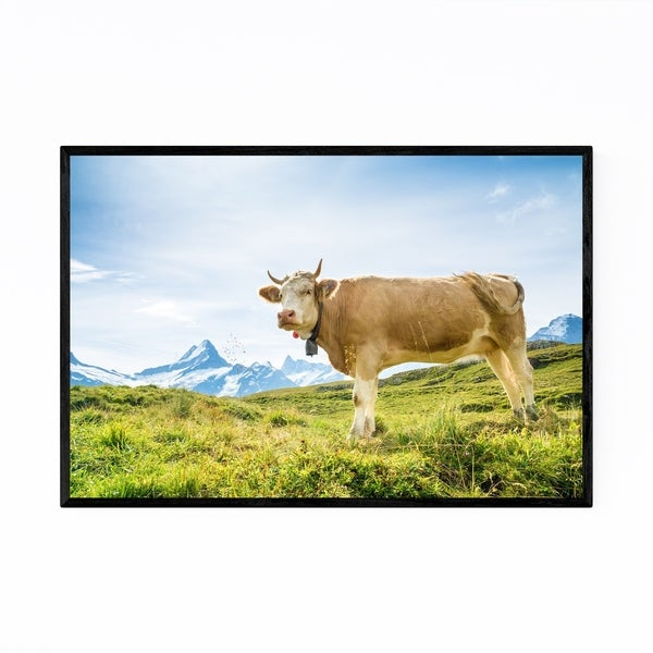 Noir Gallery Fleckvieh Cow Switzerland Animal Framed Art Print