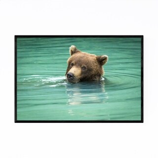 Noir Gallery Grizzly Bear Wildlife Alaska Framed Art Print