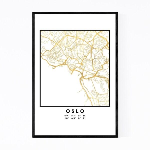 Noir Gallery Minimal Oslo City Map Framed Art Print