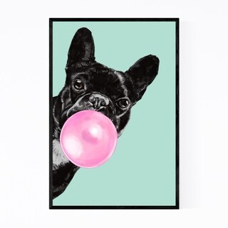Noir Gallery Pink Bulldog Peekaboo Animal Framed Art Print