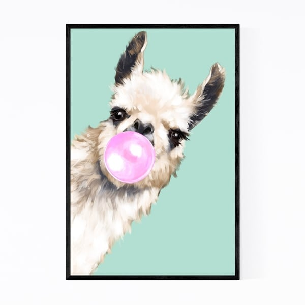 Noir Gallery Cute Pink Llama Peekaboo Animal Framed Art Print