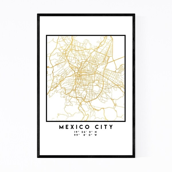 Noir Gallery Minimal Mexico City City Map Framed Art Print
